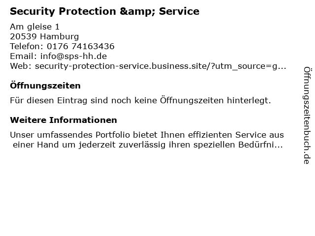 Security Protection & Service in Hamburg: Adresse und Öffnungszeiten