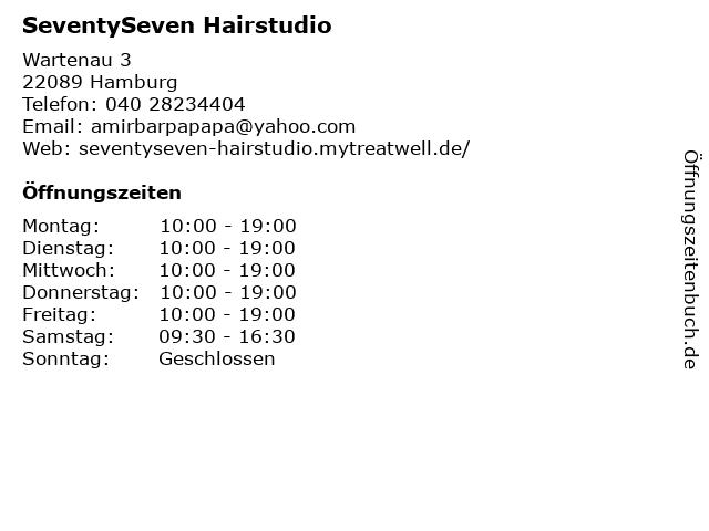 SeventySeven Hairstudio in Hamburg: Adresse und Öffnungszeiten