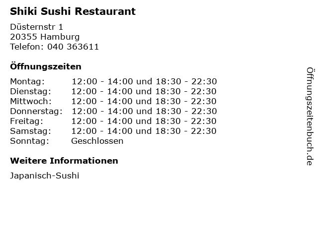 Shiki Sushi Restaurant in Hamburg: Adresse und Öffnungszeiten