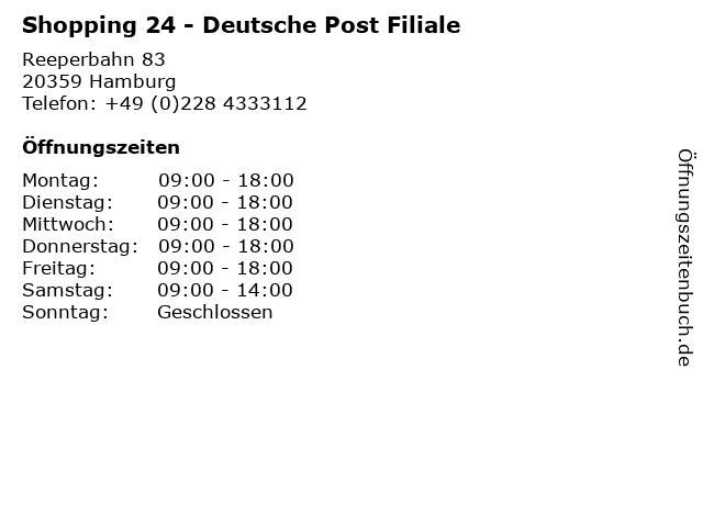 Shopping 24 - Deutsche Post Filiale in Hamburg: Adresse und Öffnungszeiten