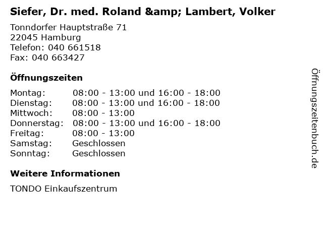Siefer, Dr. med. Roland & Lambert, Volker in Hamburg: Adresse und Öffnungszeiten