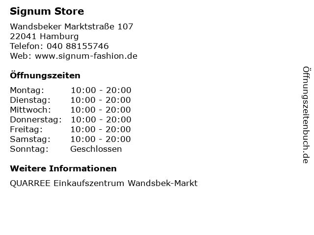 Signum Store in Hamburg: Adresse und Öffnungszeiten