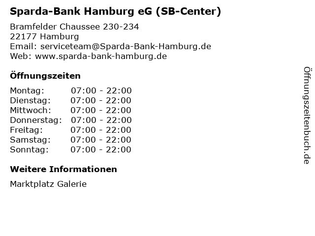 Sparda-Bank Hamburg eG (SB-Center) in Hamburg: Adresse und Öffnungszeiten
