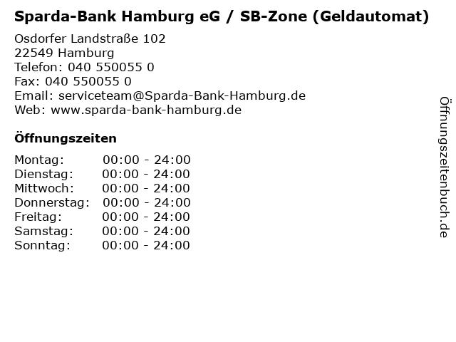 Sparda-Bank Hamburg eG / SB-Zone (Geldautomat) in Hamburg: Adresse und Öffnungszeiten