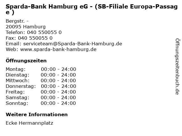 Sparda-Bank Hamburg eG - (SB-Filiale Europa-Passage ) in Hamburg: Adresse und Öffnungszeiten