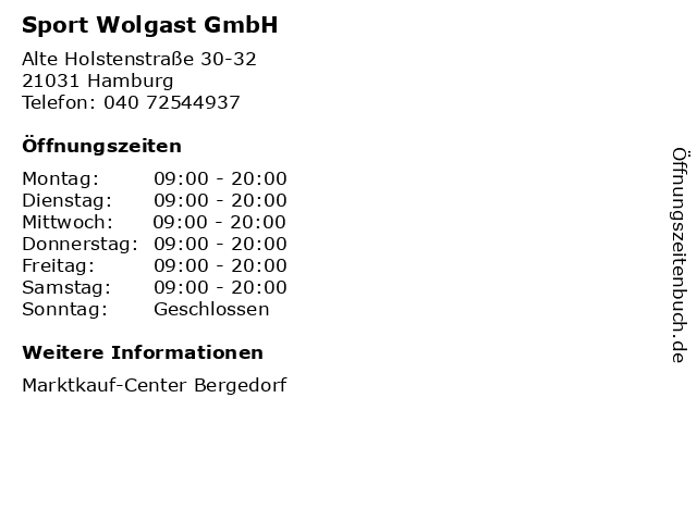 Sport Wolgast GmbH in Hamburg: Adresse und Öffnungszeiten