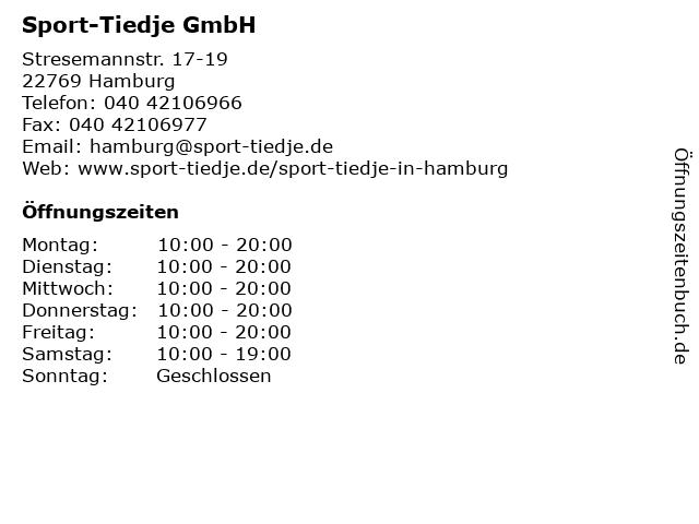 Sport-Tiedje GmbH in Hamburg: Adresse und Öffnungszeiten