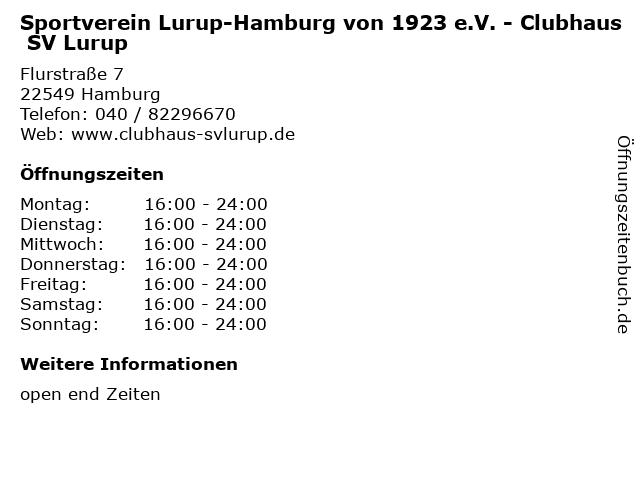 Sportverein Lurup-Hamburg von 1923 e.V. - Clubhaus SV Lurup in Hamburg: Adresse und Öffnungszeiten