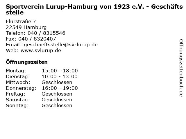 Sportverein Lurup-Hamburg von 1923 e.V. - Geschäftsstelle in Hamburg: Adresse und Öffnungszeiten