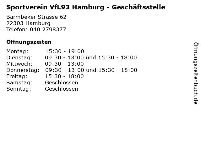 Sportverein VfL93 Hamburg - Geschäftsstelle in Hamburg: Adresse und Öffnungszeiten
