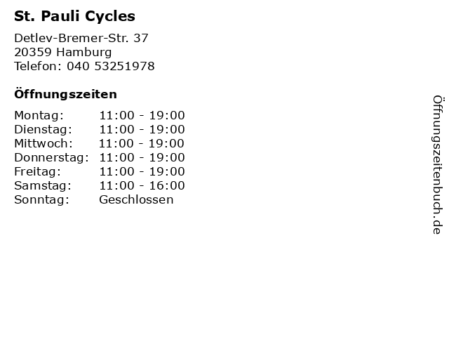 St. Pauli Cycles in Hamburg: Adresse und Öffnungszeiten