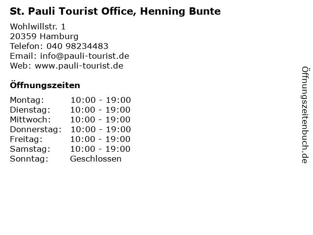 St. Pauli Tourist Office, Henning Bunte in Hamburg: Adresse und Öffnungszeiten