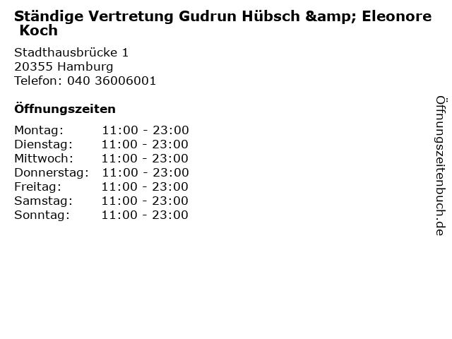 Ständige Vertretung Gudrun Hübsch & Eleonore Koch in Hamburg: Adresse und Öffnungszeiten
