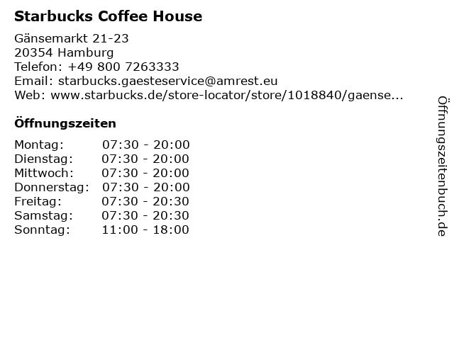Starbucks Coffee House in Hamburg: Adresse und Öffnungszeiten