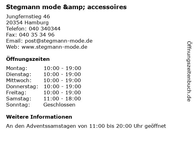 Stegmann mode & accessoires in Hamburg: Adresse und Öffnungszeiten