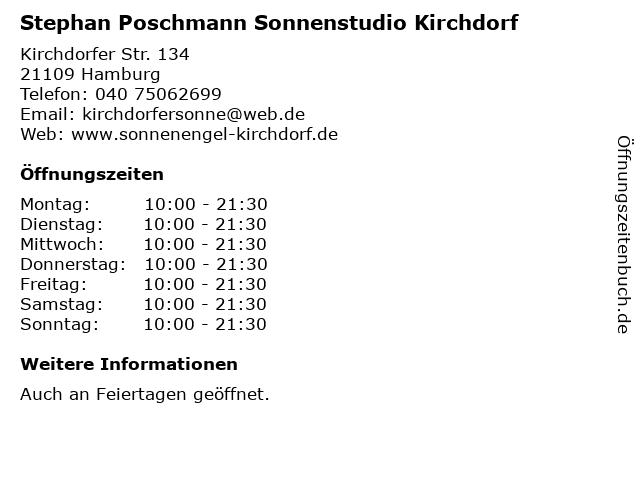 Stephan Poschmann Sonnenstudio Kirchdorf in Hamburg: Adresse und Öffnungszeiten