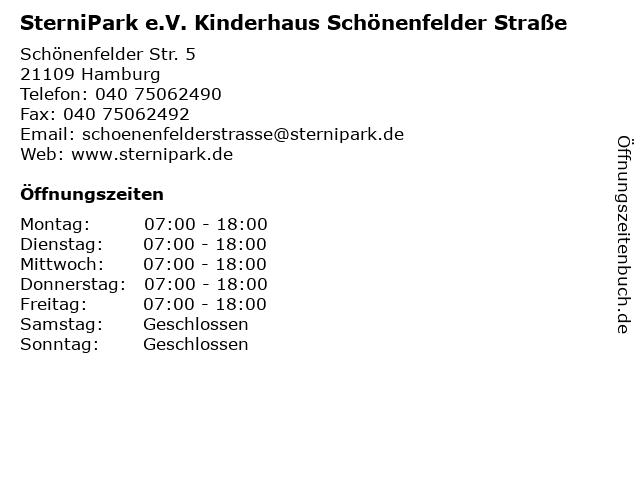 SterniPark e.V. Kinderhaus Schönenfelder Straße in Hamburg: Adresse und Öffnungszeiten
