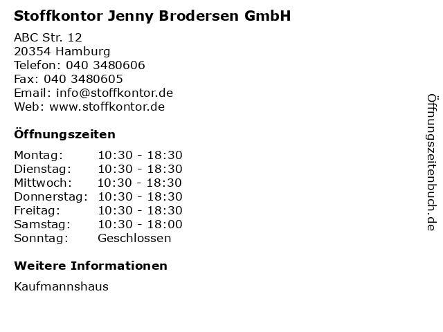 Stoffkontor Jenny Brodersen GmbH in Hamburg: Adresse und Öffnungszeiten