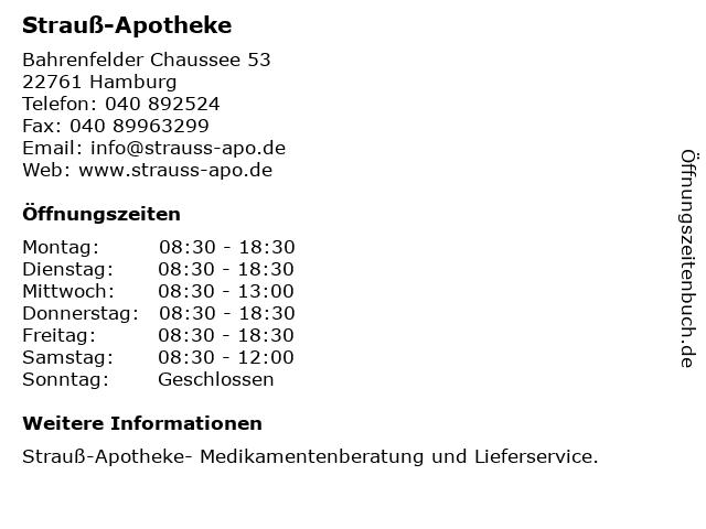 Strauß-Apotheke in Hamburg: Adresse und Öffnungszeiten