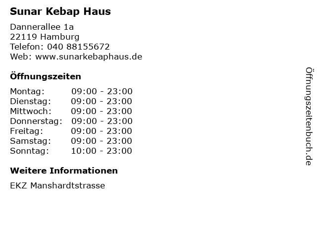 Sunar Kebap Haus in Hamburg: Adresse und Öffnungszeiten
