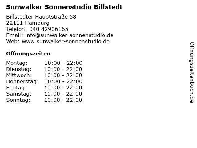 Sunwalker Sonnenstudio Billstedt in Hamburg: Adresse und Öffnungszeiten