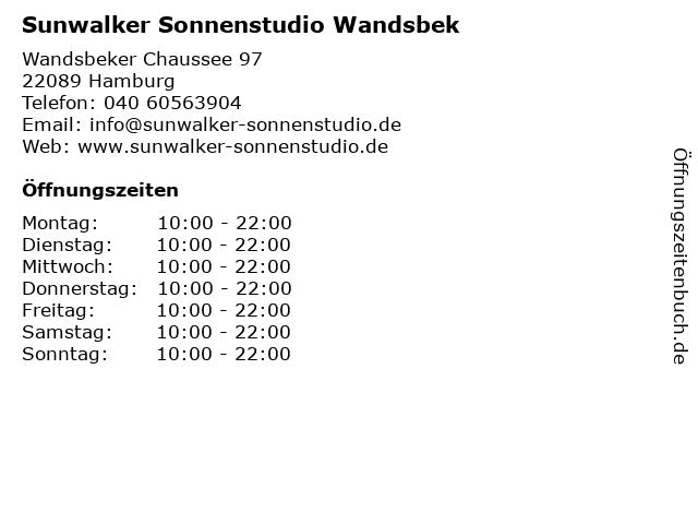 Sunwalker Sonnenstudio Wandsbek in Hamburg: Adresse und Öffnungszeiten