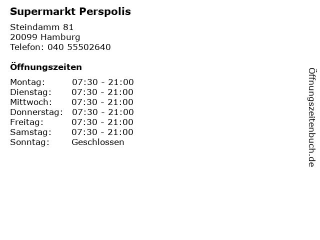 Supermarkt Perspolis in Hamburg: Adresse und Öffnungszeiten