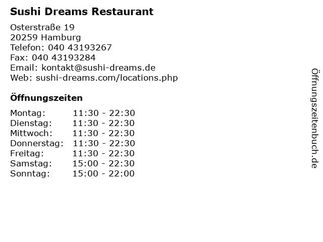 Sushi Dreams Restaurant in Hamburg: Adresse und Öffnungszeiten