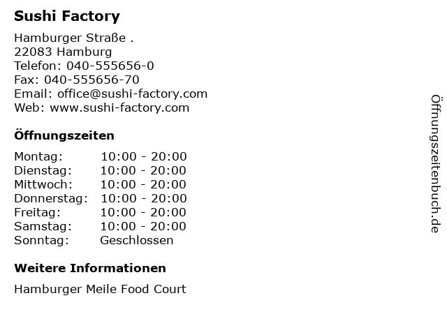 Sushi Factory in Hamburg: Adresse und Öffnungszeiten