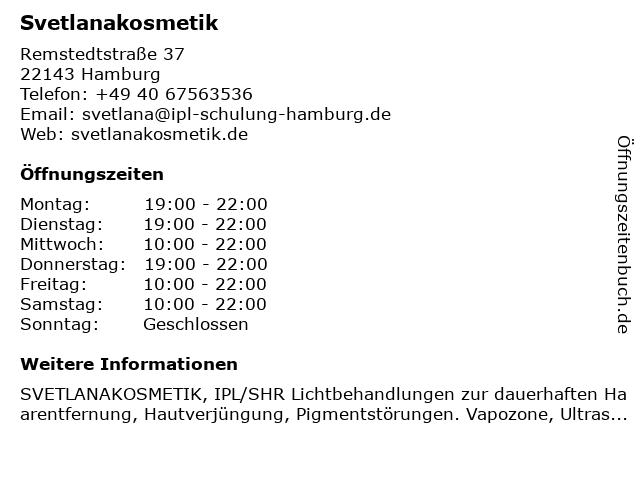 Svetlanakosmetik in Hamburg: Adresse und Öffnungszeiten