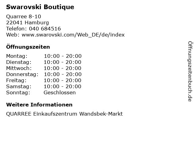 Swarovski Boutique in Hamburg: Adresse und Öffnungszeiten
