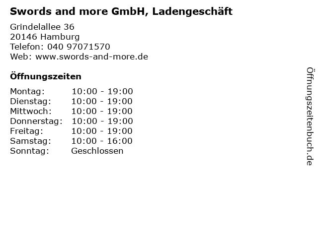 Swords and more GmbH, Ladengeschäft in Hamburg: Adresse und Öffnungszeiten