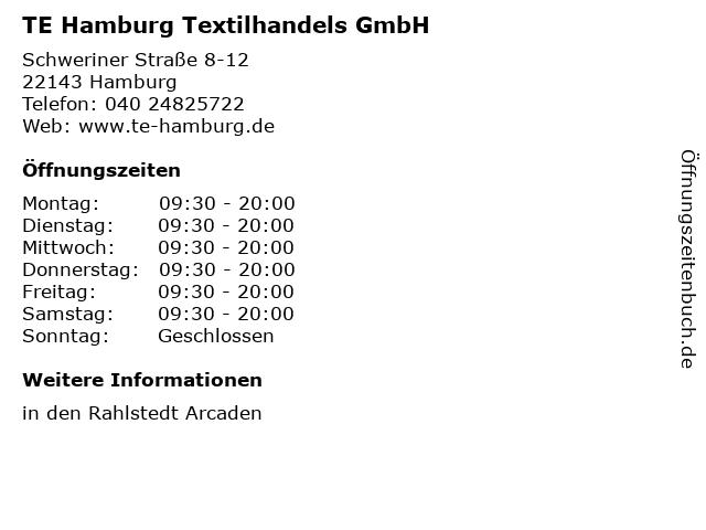 TE Hamburg Textilhandels GmbH in Hamburg: Adresse und Öffnungszeiten