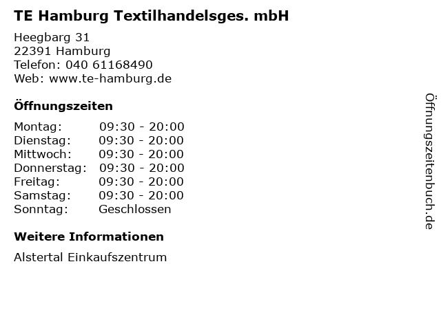 TE Hamburg Textilhandelsges. mbH in Hamburg: Adresse und Öffnungszeiten