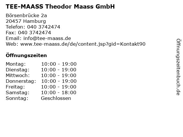 TEE-MAASS Theodor Maass GmbH in Hamburg: Adresse und Öffnungszeiten