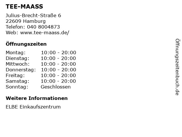 TEE-MAASS in Hamburg: Adresse und Öffnungszeiten