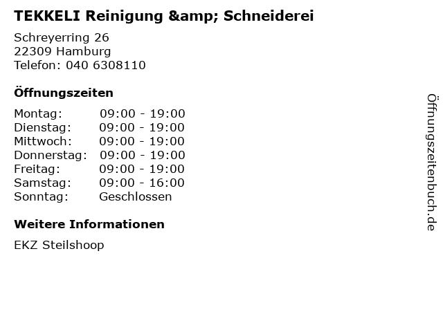 TEKKELI Reinigung & Schneiderei in Hamburg: Adresse und Öffnungszeiten
