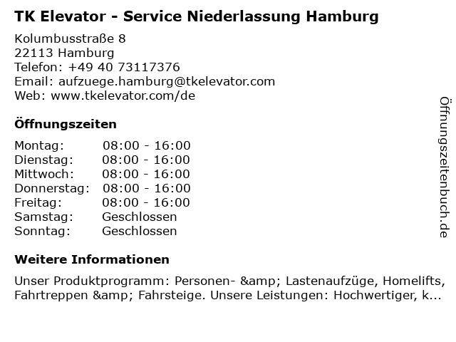 TK Elevator - Service Niederlassung Hamburg in Hamburg: Adresse und Öffnungszeiten