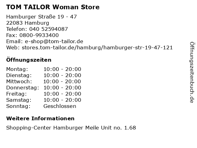TOM TAILOR Woman Store in Hamburg: Adresse und Öffnungszeiten