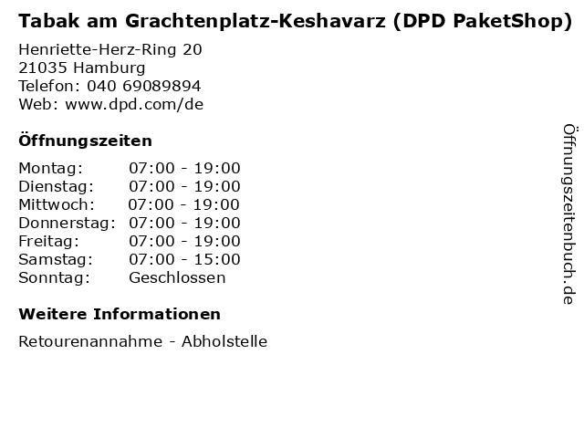 Tabak am Grachtenplatz-Keshavarz (DPD PaketShop) in Hamburg: Adresse und Öffnungszeiten