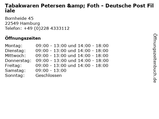 Tabakwaren Petersen & Foth - Deutsche Post Filiale in Hamburg: Adresse und Öffnungszeiten