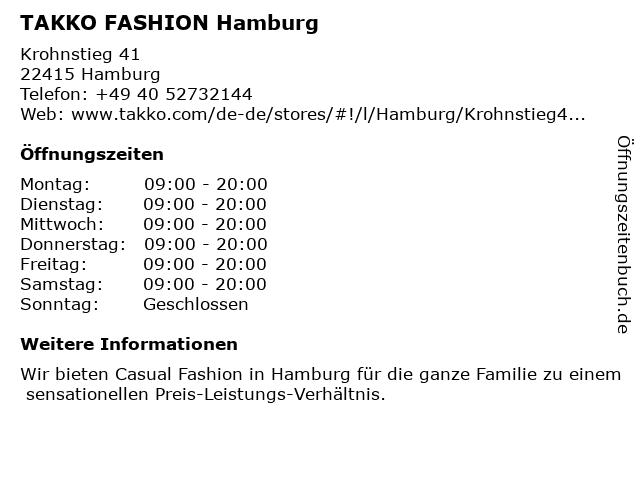 Takko Fashion in Hamburg: Adresse und Öffnungszeiten