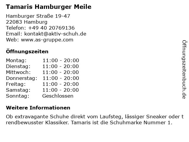 Tamaris Hamburger Meile in Hamburg: Adresse und Öffnungszeiten
