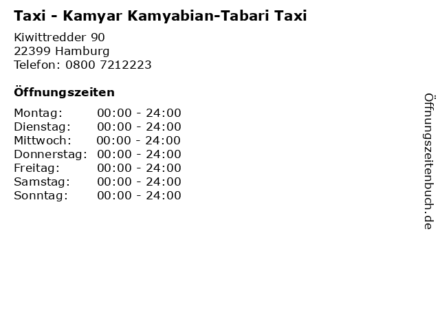 Taxi - Kamyar Kamyabian-Tabari Taxi in Hamburg: Adresse und Öffnungszeiten
