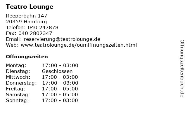 Teatro Lounge in Hamburg: Adresse und Öffnungszeiten