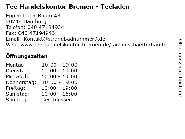 Tee Handelskontor Bremen in Hamburg: Adresse und Öffnungszeiten