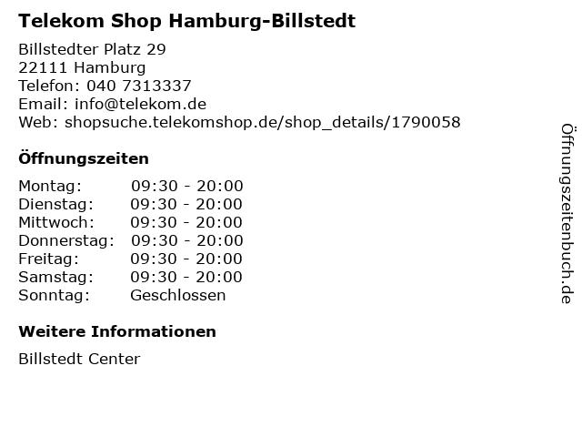 Telekom Shop Hamburg-Billstedt in Hamburg: Adresse und Öffnungszeiten