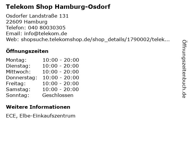 Telekom Shop Hamburg-Osdorf in Hamburg: Adresse und Öffnungszeiten