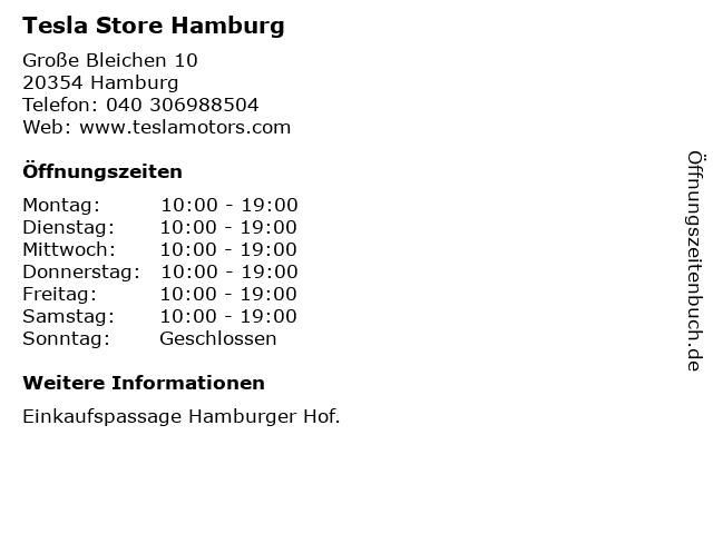 Tesla Store Hamburg in Hamburg: Adresse und Öffnungszeiten