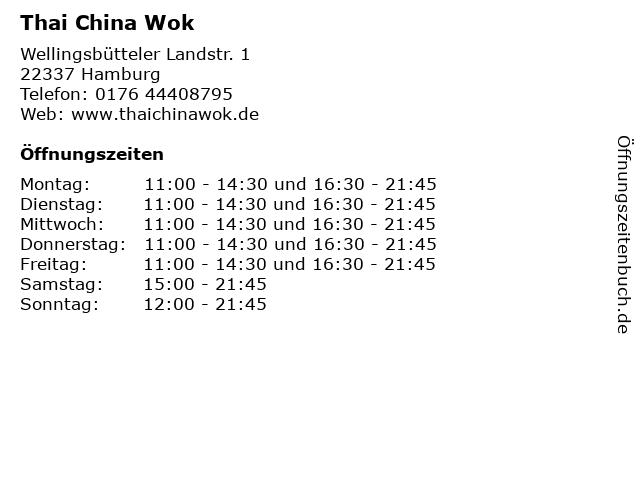 Thai China Wok in Hamburg: Adresse und Öffnungszeiten